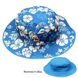 Baby-Kidz Banz kifordítható kék-virágos kék  gyermek sapka